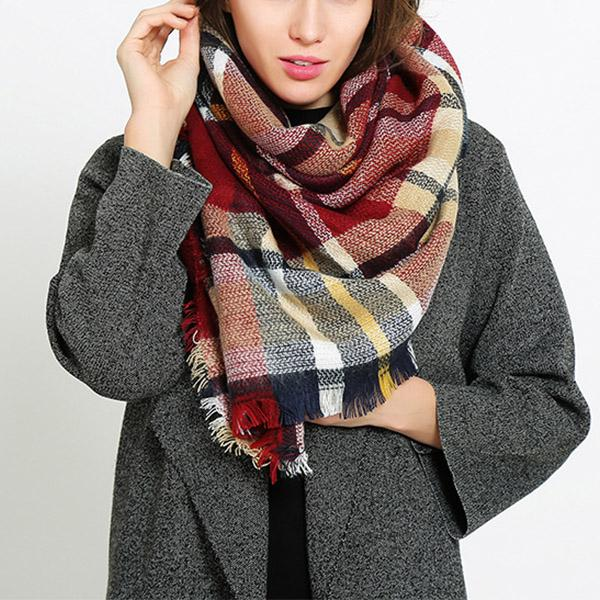 Women Various Color Plaid Scarf Fashion Shawls
