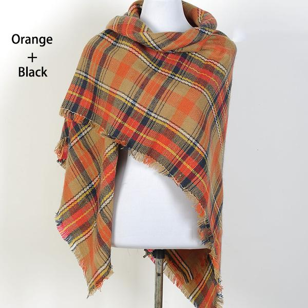 Women Plaid Pashmina Scarves Square Blanket Shawls
