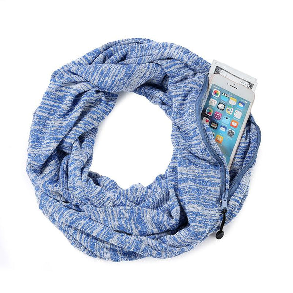 Casual Warm Fashion Hidden Zipper Pocket Scarves