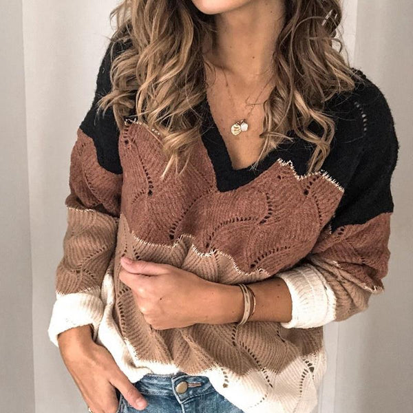 Fashion Long Sleeve Pullover Knit Sweater