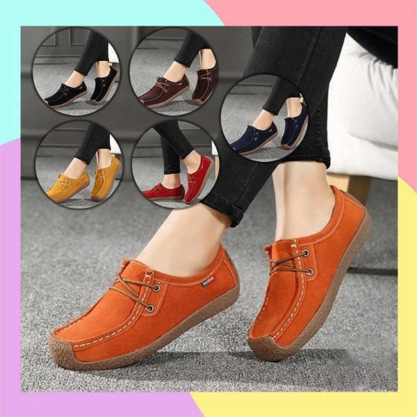 Women's Scarlet Leather Flat Shoes