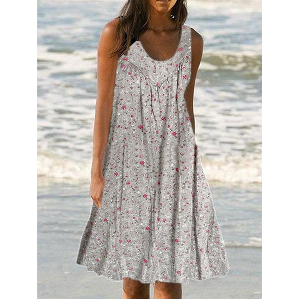 Chic Print Floral Sleeveless Mini Summer Dress