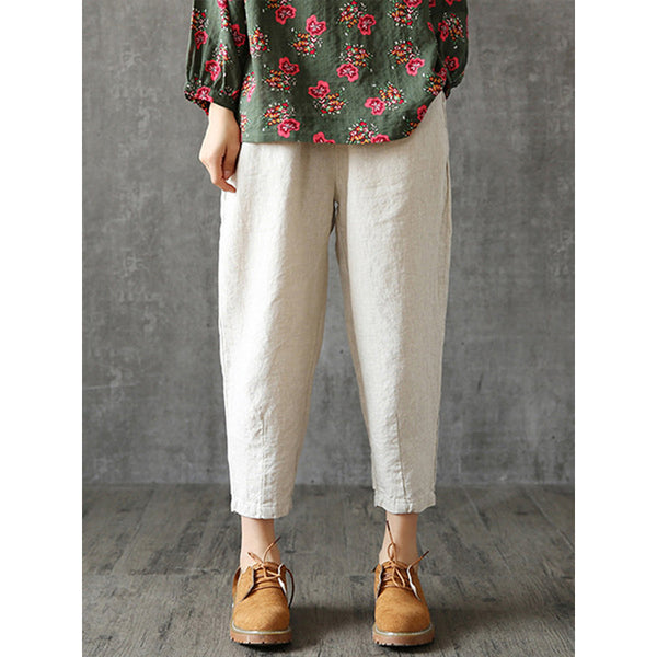 Vintage Solid Color Elastic Waist Cotton Harem Pants