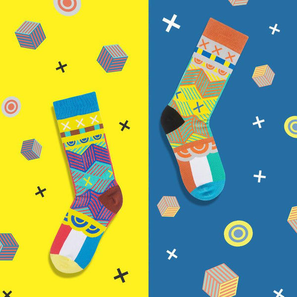 Men Women Casual Cotton Unique Cartoon Socks Mid Length Asymmetric AB Socks