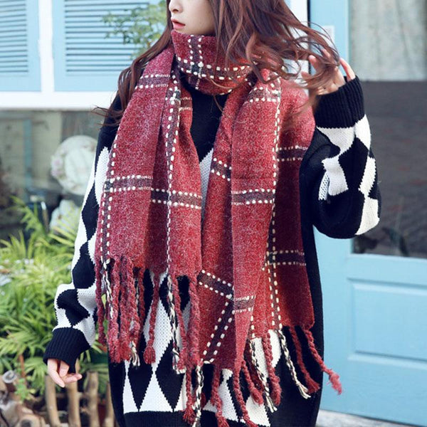 Autumn Winter Warm Plaid Scarf Fashion Wild Long Ladies Air Conditioning Shawl