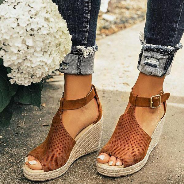 Women Adjustable Buckle Chic Espadrille Wedges Sandals