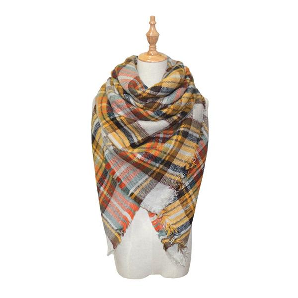 Lattice Square Neck Scarf Fringed Plaid Pashmina Winter Shawls