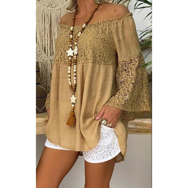Lace Stitching Tops Trumpet Sleeve One-neck Shirt