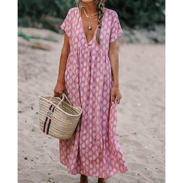 Beach V-neck Loose Short-Sleeve Printed Dress