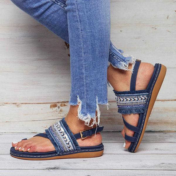National Casual Fringed Beach Sandals