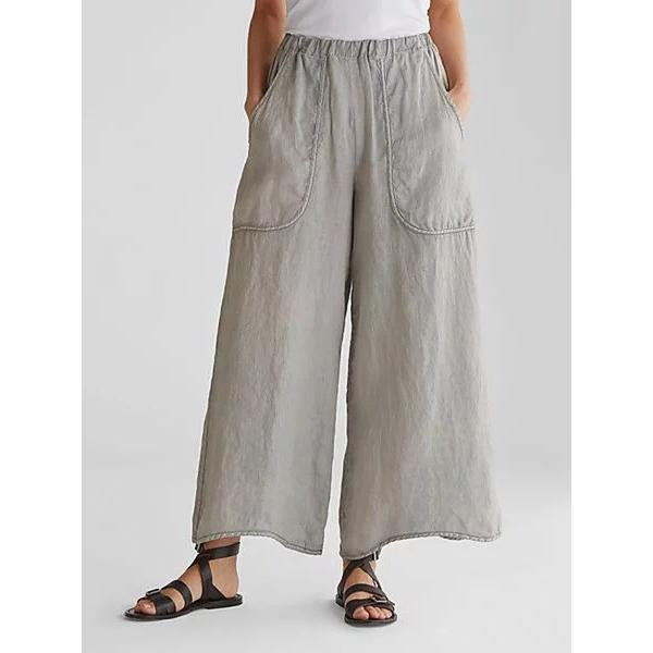 Summer Pockets Loose Wide Leg Women Casual Pants