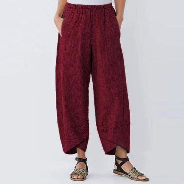 Striped Casual Capri Summer Fashion Trousers Pockets Pants