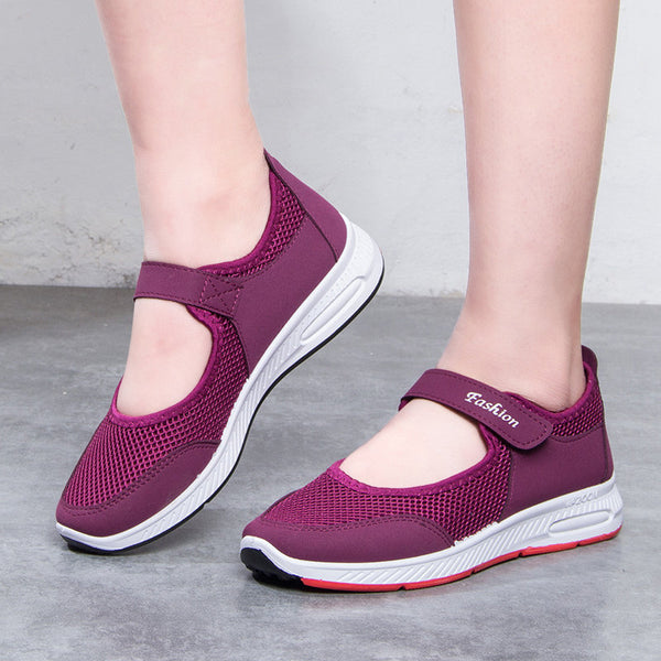 Women Outdoor Sports Walking Mesh Hook Loop Shoes