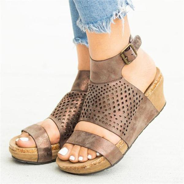 Casual Adjustable Buckle Wedge Open Toe Sandals