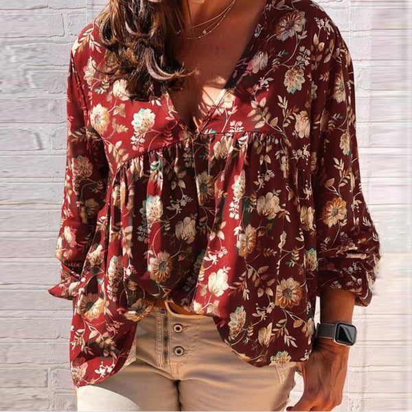 Womens V-neck Loose Printed Long-sleeved T-shirt