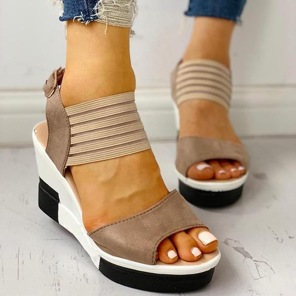 Casual Suede Elastic Mesh Platform Wedge Sandals