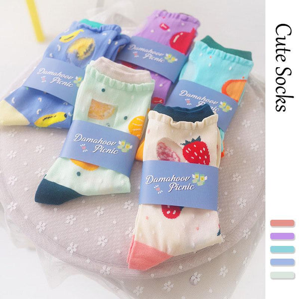Women Fashion Trend Harajuku Cartoon Fruits Skateboard Socks
