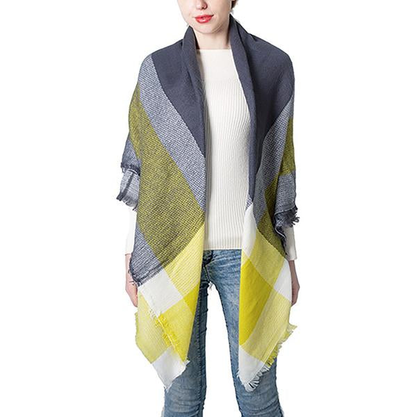 Women Autumn Winter Big Plaid Scarf Warm Soft Oversized Shawls