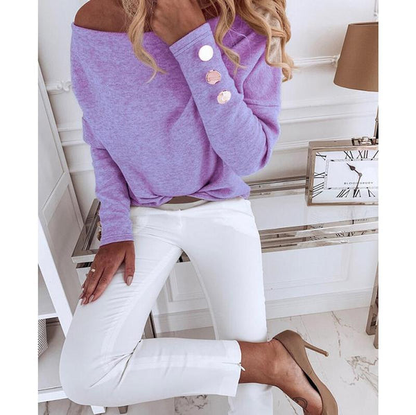 Casual Off-Shoulder Long Sleeve Blouses