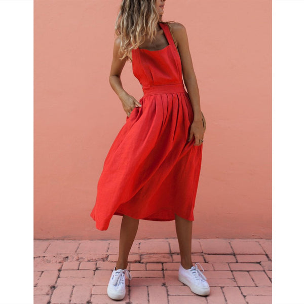 Summer Solid Sexy Strap Button Pleated Dress