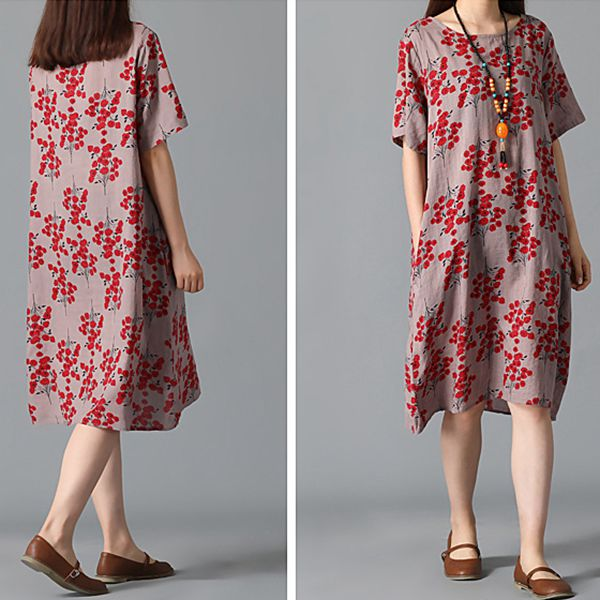 Summer Vintage Print Floral V-neck Short Sleeve Dress