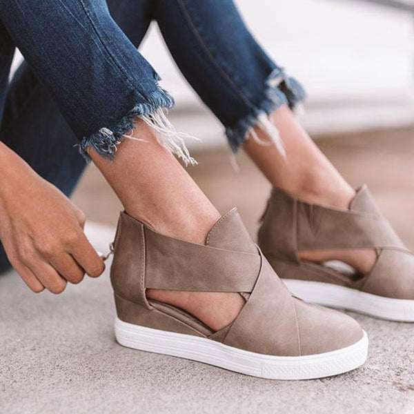 Casual Comfortable Faux Leather Wedge Sandals