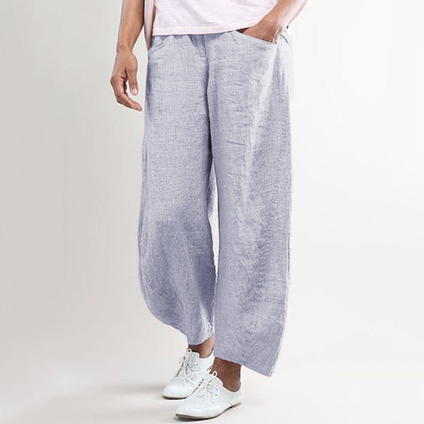 Casual Bottoms Solid Linen Pants