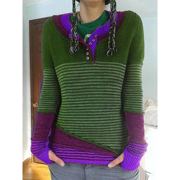 Fashion Striped Splice Long-sleeved Sweaters