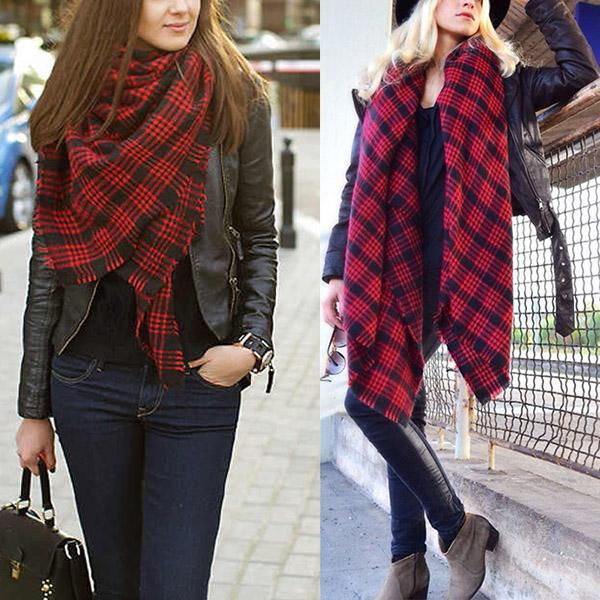Women Tartan Plaid Scarf Square Warm Soft Shawls