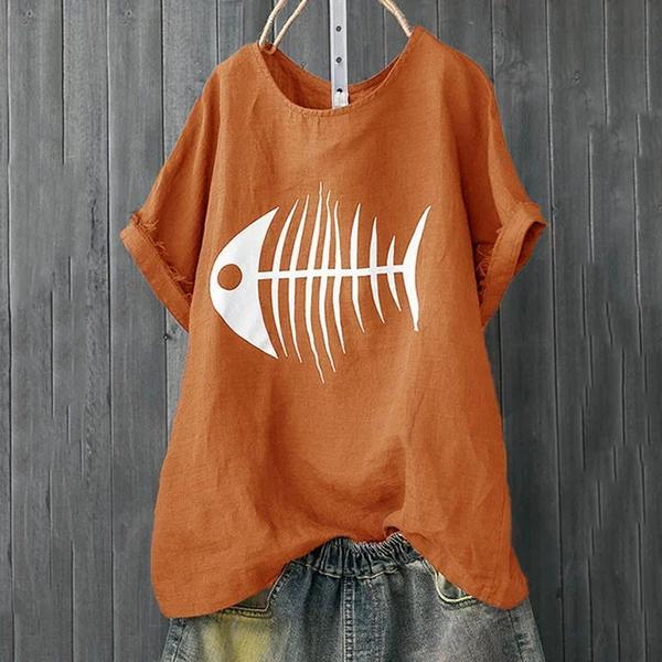 Casual T-Shirts Fish Bone Women Printed Tops