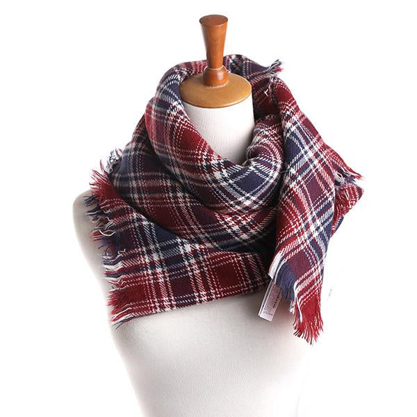 Womens Fashion Plaid Blanket Scarf Warm Tartan Oversized Shawl Cape