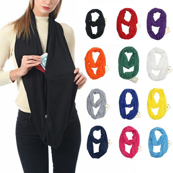 Fashion Hidden Zipper Pocket Scarves Travel Infinity Lightweight Scarf