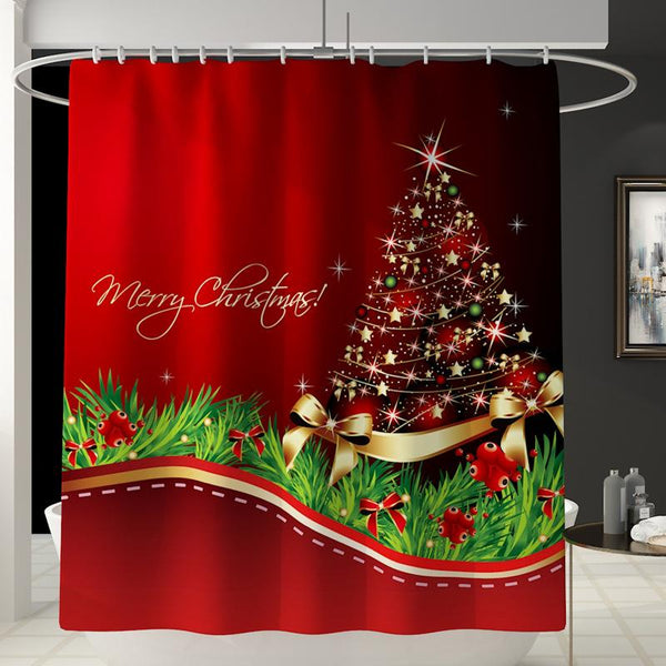 180*180cm Merry Christmas Bathroom Snowman Santa Claus Pattern Waterproof Shower Curtain With Hooks