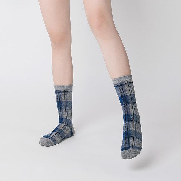 Men Women Vintage Plaid Checked Cotton Socks Retro Autumn Winter Cute Scottish Lattice Grid Socks
