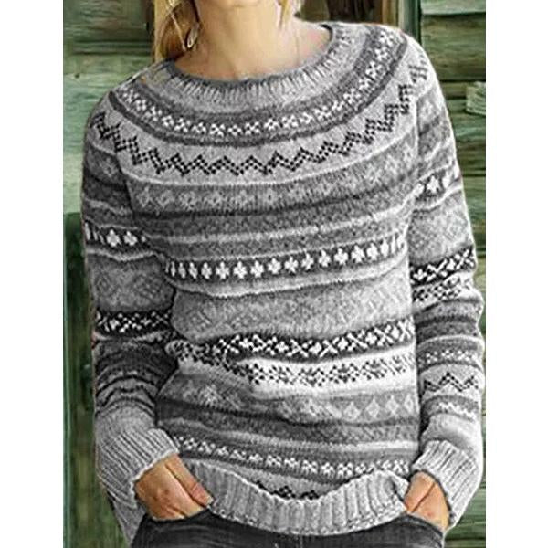 Printed Round Neck Lantern Sleeves Sweater