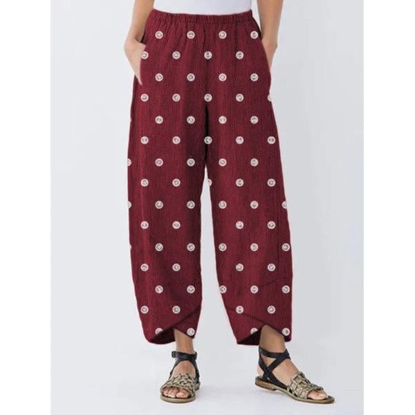Women Polka Dot Pocket Loose Pants