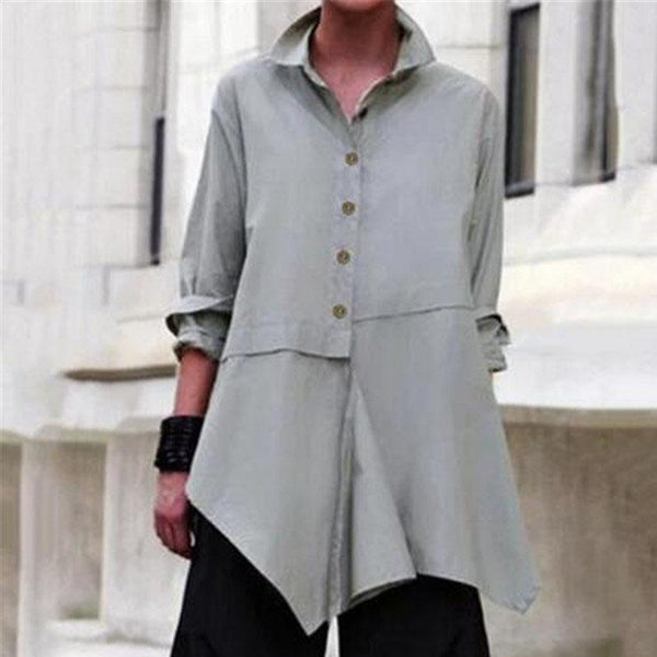 Long Sleeve Solid Color Lapel Irregular Blouses