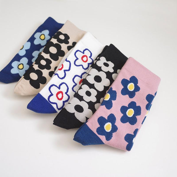 Men Women Cute Flower Pattern Cartoon Mid Tube Socks