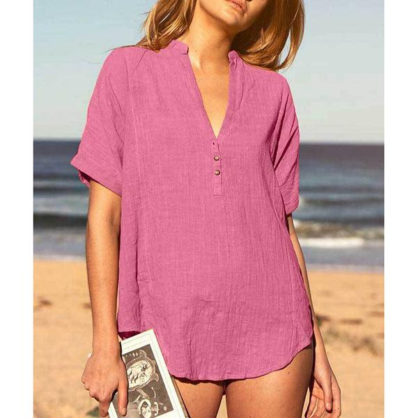 Beach V-neck Tops Button Solid Color Summer Casual Blouse