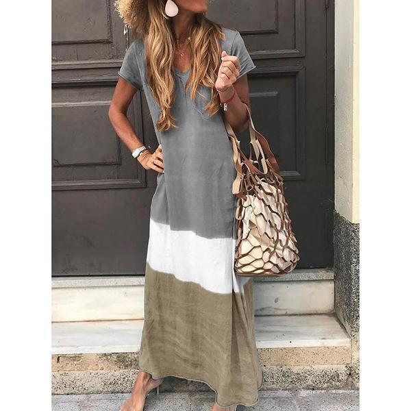 Casual Striped Short Sleeve V Neck Dresses