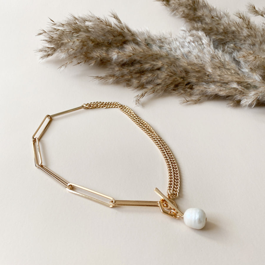 Pearl gold hexagon t bar necklace