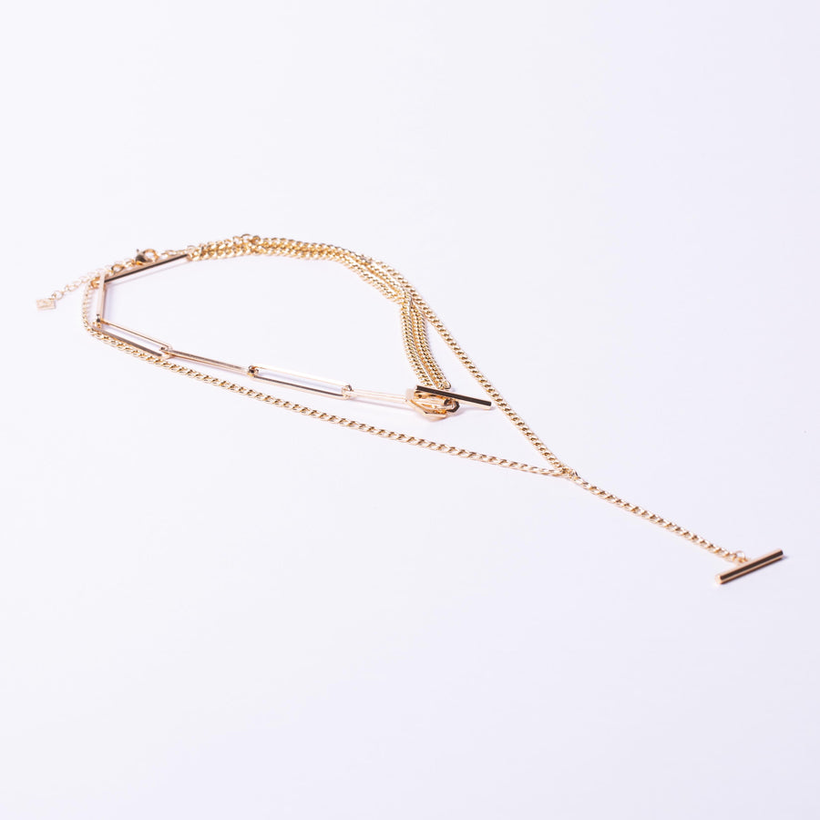 Multi Layer Hexagon T bar clasp Necklace