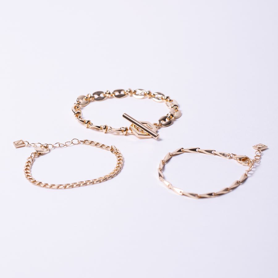Hexagon T bar Clasp Chain Bracelets