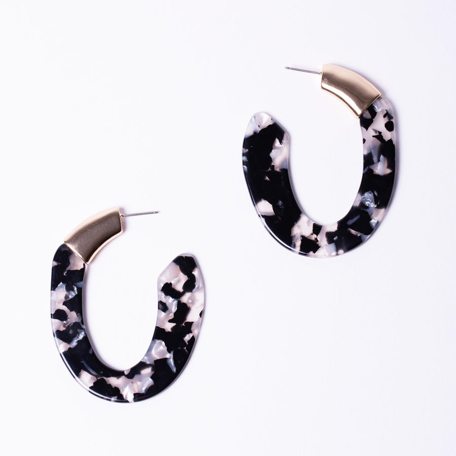 Statement hoop resin earring