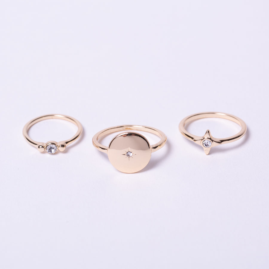 Gold coin signet and star crystal ring pack with midi ring
