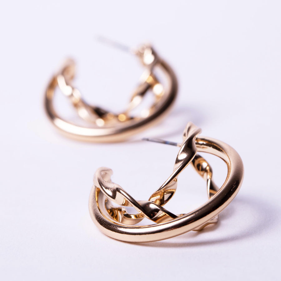 Organic Twist Hoop Earrings