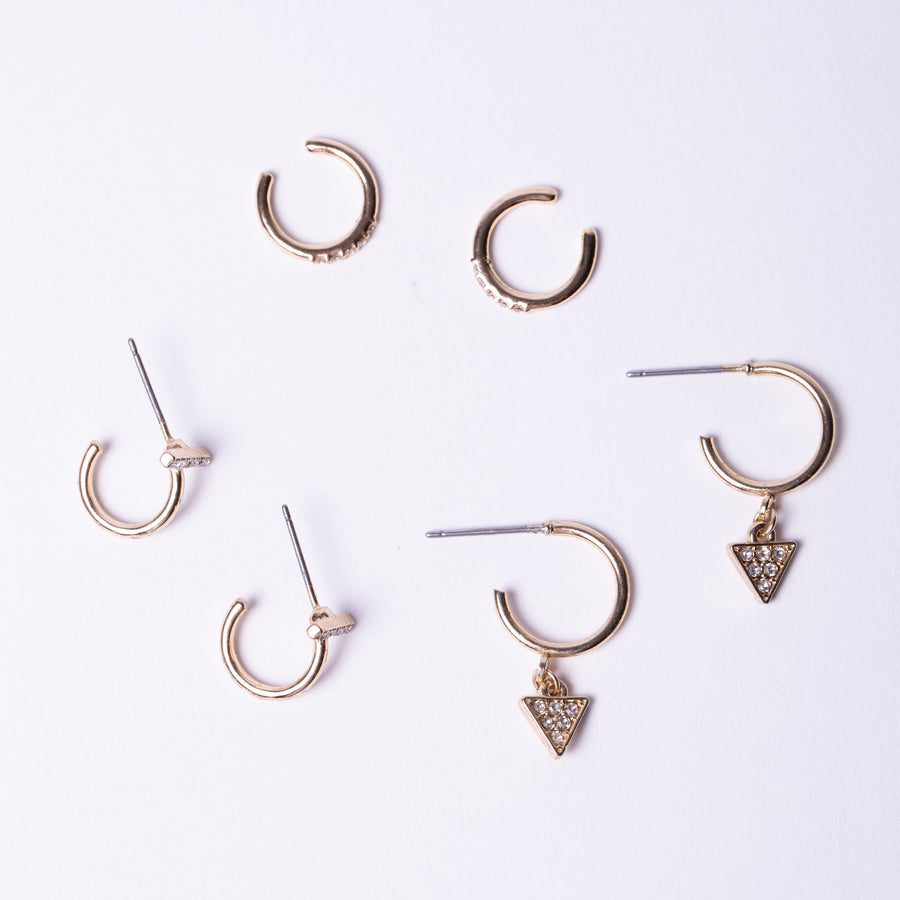 Crystal Earring Pack With Ear Cuff