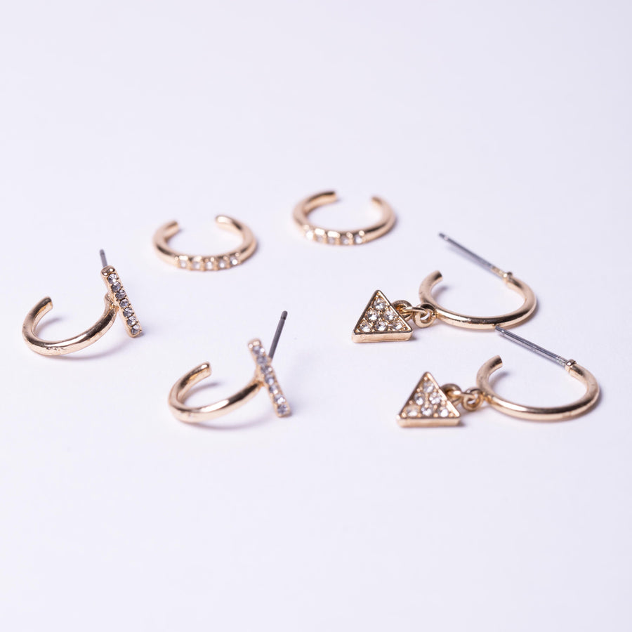 Gold crystal pave triangle charm mini hoop, T pave hoop, crystal ear cuff lay out