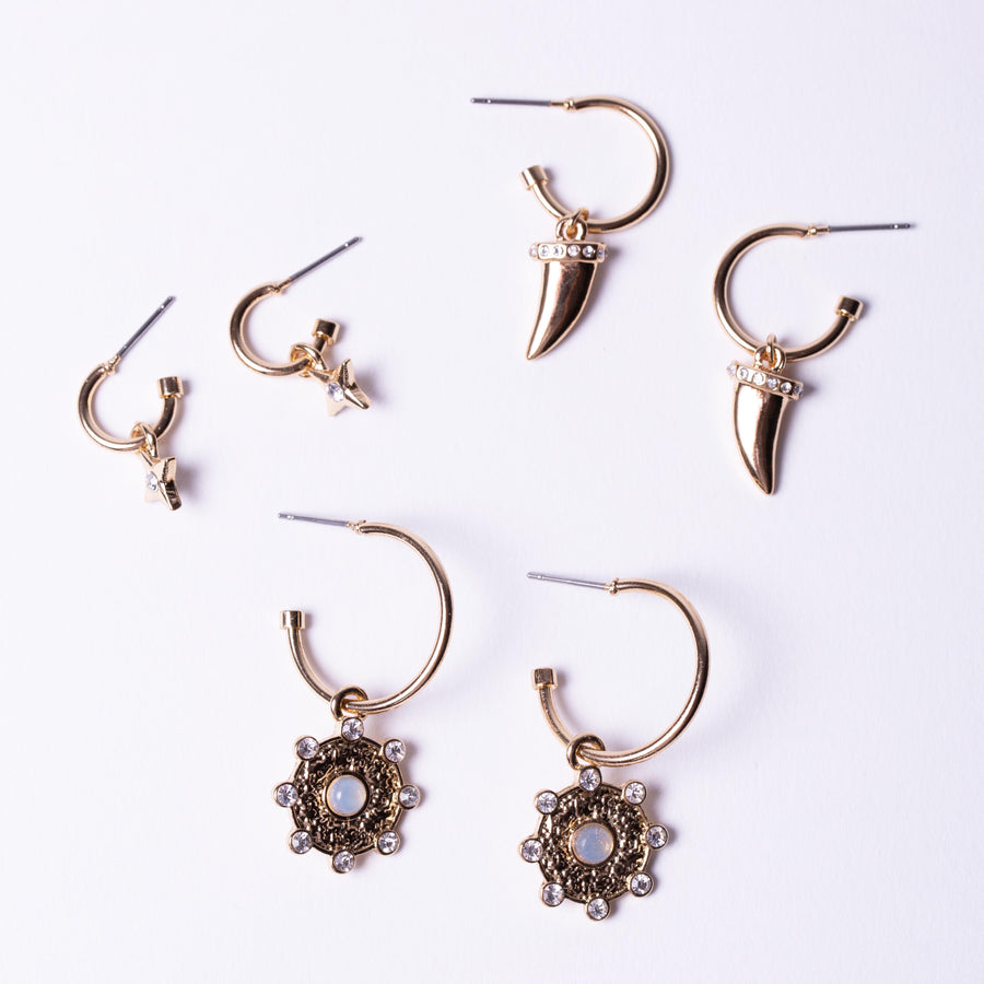 Moonstone Charm Earring Pack