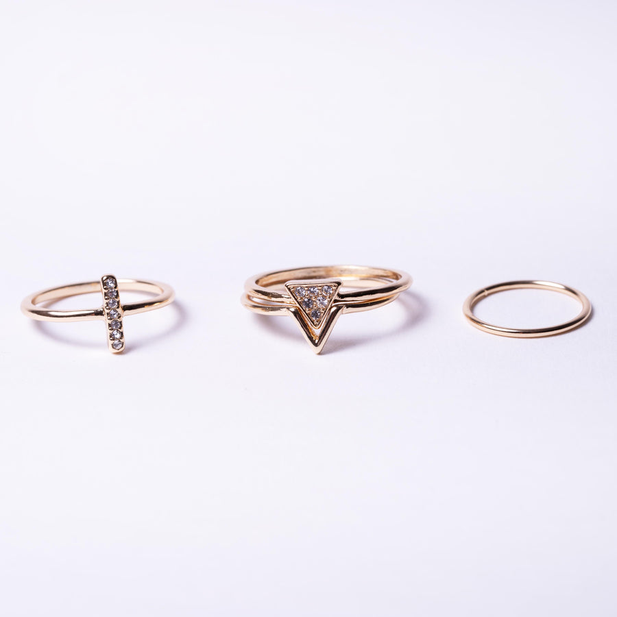 Crystal Triangle Ring Pack